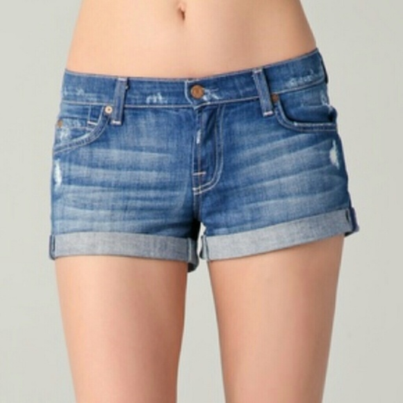 7 For All Mankind Pants - 7 For All Mankind Distressed Jean Shorts